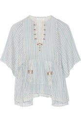 Etoile Isabel Marant Joy Embroidered Striped Cotton Top Sky Blue