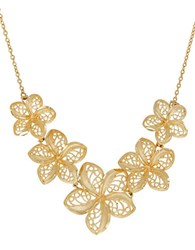 Lord And Taylor Richline 14K Yellow Gold Flower String Mesh Leaves Pendant Necklace