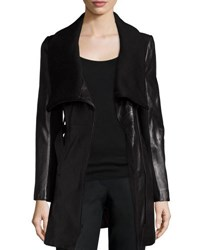 T Tahari Leather And Knit Belted Wrap Coat Black