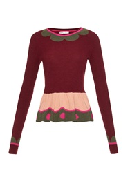 Red Valentino Colour Block Wool And Cashmere Blend Sweater