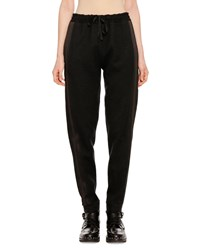 Ermanno Scervino Pull On Wool Cashmere Jogger Pants With Side Stripes Black