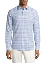 Theory Sylvain Checkered Shirt Clear Blue