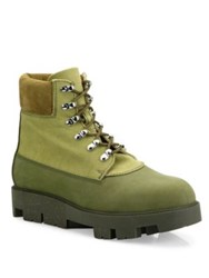 Acne Studios Lace Up Leather Boots Army Green