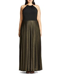City Chic Shimmer Pleat Maxi Dress Gold