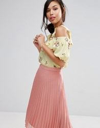 Fashion Union Cold Shoulder Top In Floral Sunshine Floral Yellow