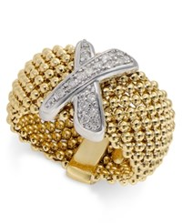 Macy's Diamond Mesh X Ring 1 6 Ct. T.W. In 14K Gold Plated Sterling Silver No Color