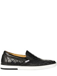Jimmy Choo Croc Embossed Leather Slip On Sneakers