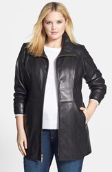 Ellen Tracy Plus Size Women's Leather Walking Coat Black