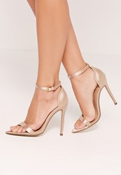 Missguided Satin Pointed Toe Barely There Heels Gold Champagne