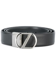 Z Zegna Buckle Detail Belt Black