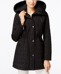 Calvin Klein Faux Fur Trim Quilted Anorak Coat Black