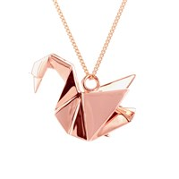 Origami Jewellery Swan Necklace Sterling Silver Pink Gold Plated Rose Gold