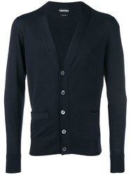 Tom Ford Long Sleeve Fitted Cardigan Blue