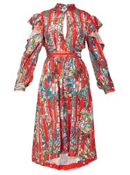 Golden Goose Chieko Ruffled Floral Print Crepe De Chine Dress Red Multi