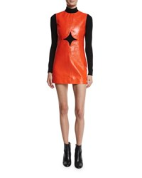 Courreges Cutout Vinyl Shift Dress Red Ac Red