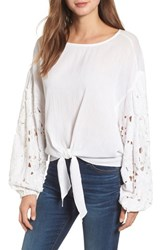 Kas New York Tie Front Cut Floral Sleeve Cotton Blouse White