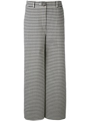 A.W.A.K.E. Houndstooth Palazzo Pants Women Cotton Polyester Polyurethane Wool 40 Black