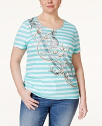 Karen Scott Plus Size Embellished Striped Top Only At Macy's Island Sky