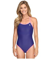 Tyr Solid Brites Reversible Diamondfit Navy Purple Pink Women's Swimsuits One Piece