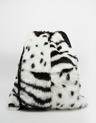 The Ragged Priest Faux Fur Animal Monocrome Drawstring Backpack Blackwhite
