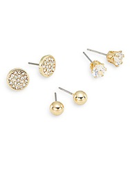 Ak Anne Klein Social White Stone Mixed Stud Earring Set Goldtone