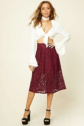 Forever 21 Floral Lace Midi Skirt