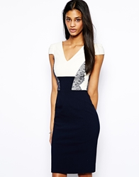 Hybrid Pencil Dress With Lace Panelling