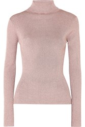 3.1 Phillip Lim Ribbed Lurex Turtleneck Sweater Blush