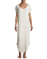 Skin Short Sleeve V Neck Nightgown Pebble