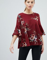 Ax Paris 3 4 Sleeve Floral Top Red