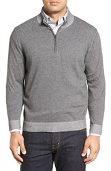 Nordstrom Men's Men's Shop Plaited Quarter Zip Cotton Sweater Grey Magnet Combo