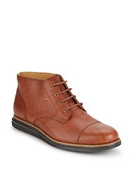 Cole Haan Pebbled Leather Ankle Boots Brown