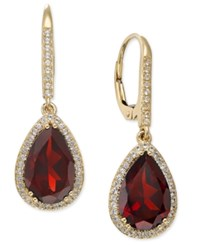 Macy's Garnet 2 3 4 Ct. T.W. And White Sapphire 1 4 Ct. T.W. Pear Drop Earrings In 14K Gold Yellow Gold