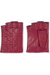 Karl Lagerfeld Quilted Leather Fingerless Gloves Purple
