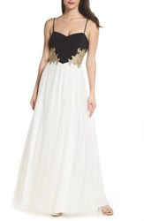 Blondie Nites Nights Embellished Tulle Gown Black Ivory Gold