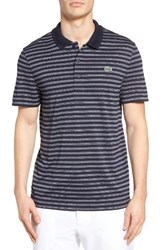 Lacoste Men's Sport Stripe Golf Pique Polo Navy Blue White