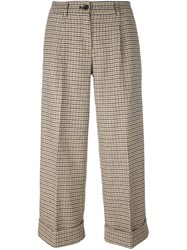 P.A.R.O.S.H. Cropped Dogtooth Trousers Brown