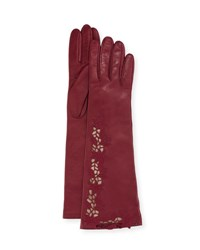 Portolano Flower Embroidery Napa Leather Gloves White