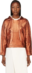 3.1 Phillip Lim Copper Leather Cropped Poncho Sweatshirt