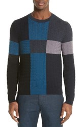 Paul Smith Men's Colorblock Merino Cable Knit Sweater Navy