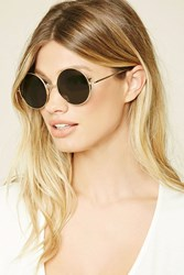 Forever 21 Round Sunglasses Gold Olive