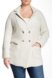 Lucky Brand Rib Sweater Coat Plus Size Gray