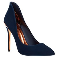 Ted Baker Saviy Pointed Toe Court Shoes Dark Blue Suede