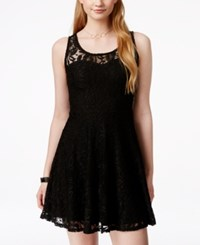 Material Girl Juniors' Lace Skater Dress Caviar Black