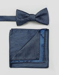 Selected Homme Bow Tie And Pocket Square With Dash Print Dark Navy