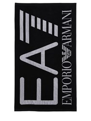 Emporio Armani Logo Cotton Terry Beach Towel Black