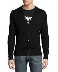Maison Martin Margiela Button Down Cardigan With Leather Elbow Patches Black