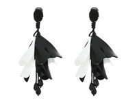 Oscar De La Renta Large Impatiens Flower Drop C Earrings Black White Earring