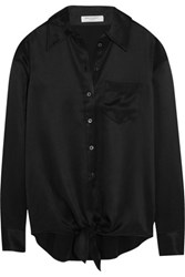 Equipment Luis Tie Front Silk Charmeuse Shirt Black