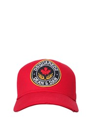 Dsquared Cotton Gabardine Baseball Hat Red
